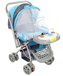 Musical Baby Pram With Play Tray - Grey Blue