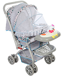 Baby Pram With Play Tray - Grey And Cream