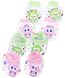 Babyhug Mittens And Booties Printed Set of 2 Pairs - Pink And Green