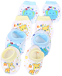 Babyhug Mittens And Booties Printed Set of 2 Pairs - Yellow And Blue