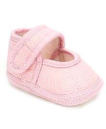 Cute Walk Sandal Style Booties Embroidered - Pink