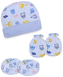 Babyhug Cap Gloves And Mittens Set Vehicles Print - Sky Blue