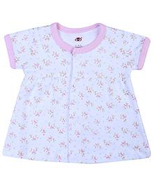 Zero Half Sleeves Baby Frock Flower Print - Pink