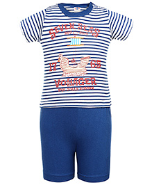 Zero Half Sleeves T-Shirt And Shorts Seven Seas Print - Blue