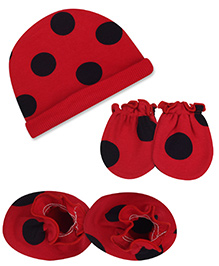 Babyhug Cap Mittens And Booties Set Big Dots Print - Red