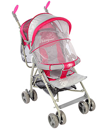 Baby Pram With Mosquito Net - Pink And Grey