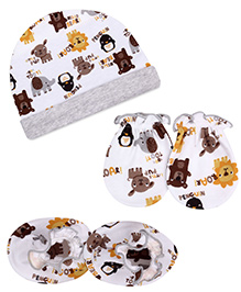 Babyhug Cap Mittens And Booties Set Animals Print - White