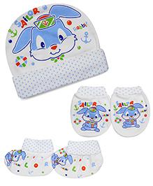 Babyhug Cap Mittens And Booties Set Bunny Print - Blue