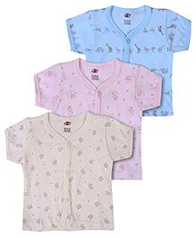 Zero Half Sleeves Vests Set of 3 - Cream Pink And Sky Blue