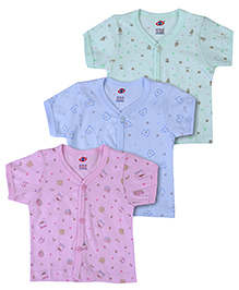 Zero Half Sleeves Vests Set of 3 - Green Pink And Blue