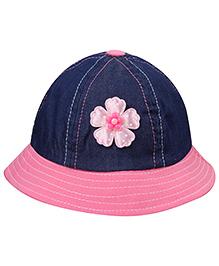 Babyhug Summer Cap Floral Applique - Pink And Navy