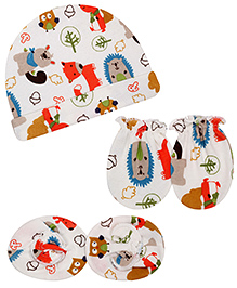 Babyhug Cap Mittens And Booties Set Animal Print - White And Multicolour