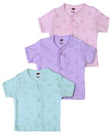 Zero Half Sleeves Vests Set of 3 - Purple Peach And Sea Green