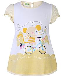 Babyhug Cap Sleeves Frock Rat On Cycle Print - Yellow And White