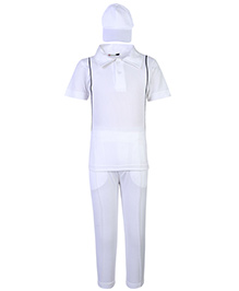 Gvavas Cricketer Fancy Dress Costume Set Of 3 Pieces - White