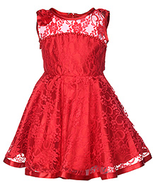 Babyhug Sleeveless Party Wear Net Frock With Pearls Detailing - Red