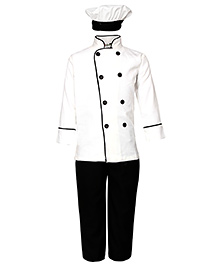 Gvavas Chef Fancy Dress Costume - White And Black