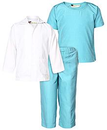 Gvavas Doctor's Scrubs Fancy Dress Costume - Blue And White