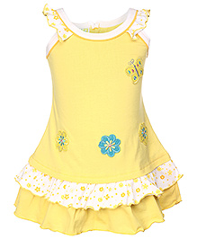 Babyhug Sleeveless Frock Floral Patch - White And Yellow