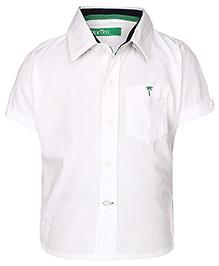 Palm Tree Half Sleeves Casual Shirt - White
