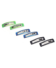 Addon Hair Clips Set of 3 Pairs - Green Blue And Black