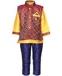 Babyhug Kurta And Jodhpuri Pajama With Jacket Self Design - Red Yellow And Blue