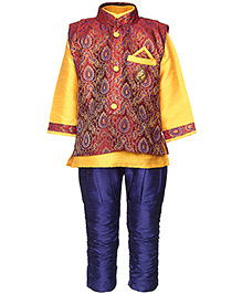 Babyhug Kurta And Jodhpuri Pajama With Jacket Self Design - Red Yellow And Blue