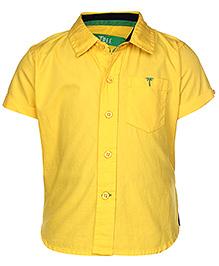 Palm Tree Half Sleeves Casual Plain Shirt - Yellow