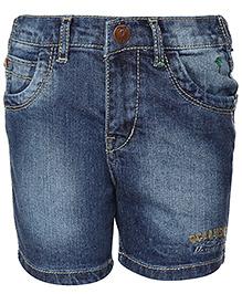 Palm Tree Denim Bermuda Shorts - Blue