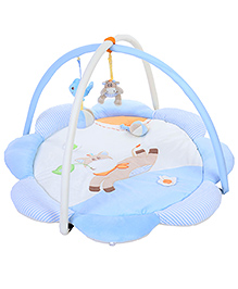 1st Step Flower Shaped Play Mat - Sky Blue And Cream