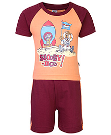 Cucumber T-Shirt And Shorts Set Scooby Doo Print - Peach And Maroon