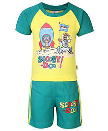 Cucumber T-Shirt And Shorts Set Scooby Doo Print - Yellow And Green