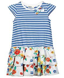Beebay Short Sleeves Knit Body Printed Frill Dress - Blue Stripes