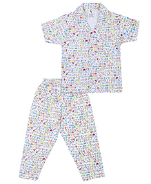 Cucumber Half Sleeves Night Suit Alphabet Print - White