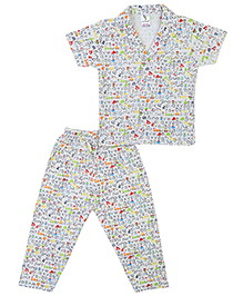 Cucumber Half Sleeves Night Suit Alphabet Print - Off White