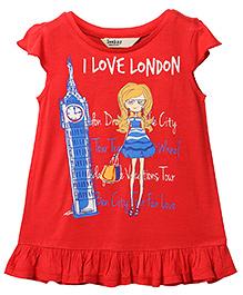 Beebay Short Sleeves T-Shirt I Love London Print - Red