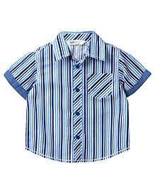 Beebay Stripes Shirt Turn Up Sleeves - Blue