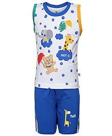 Cucumber T-Shirt And Shorts Set Baby Animals And Dots Print - White And Blue