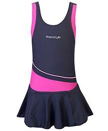 Freestyle OnePiece Frock Swimsuit - Dark Grey And Pink