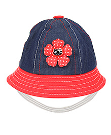 Babyhug Bucket Cap With Elastic Strap Floral Applique - Red And Navy Blue