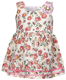 Cucumber Sleeveless Pleated Frock Floral Print - Off White And Pink