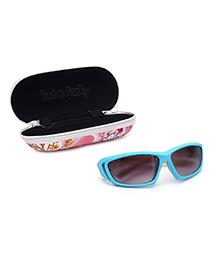 Kids Sunglasses Tri Colour UV Protected With Printed Case - Aqua