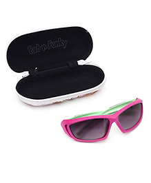 Kids Sunglasses Dual Colour UV Protected With Printed Case - Pink n Green