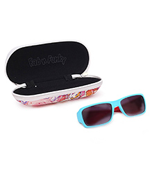 Kids Sunglasses Tri Colour UV Protected With Printed Case - Sky Blue