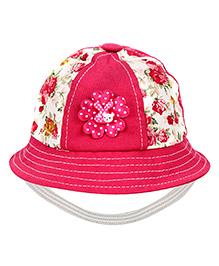 Babyhug Bucket Cap Rose Print - Dark Pink
