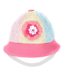 Babyhug Bucket Cap Chikan Embroidery - Multicolour