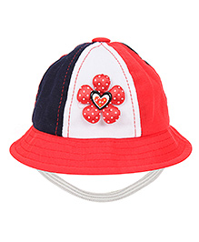 Babyhug Bucket Cap Floral Applique - Red White And Navy Blue