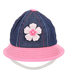 Babyhug Bucket Cap Floral Applique - Navy Blue And Pink