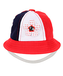 Babyhug Bucket Cap Floral Applique - Navy Blue Red And White