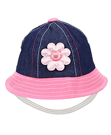 Babyhug Bucket Cap With Elastic Strap - Navy Blue And Pink